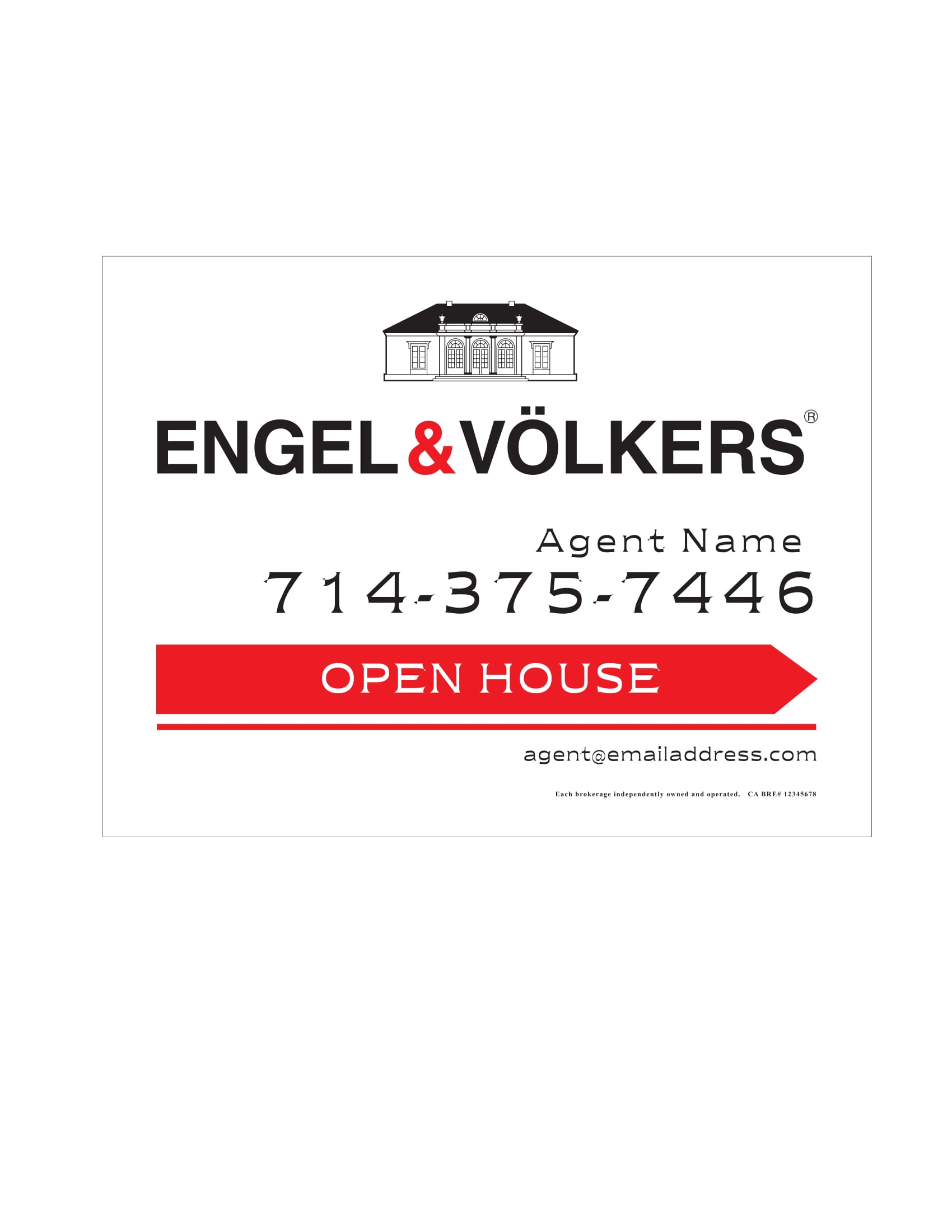 Engel & Volkers Open House Signs
