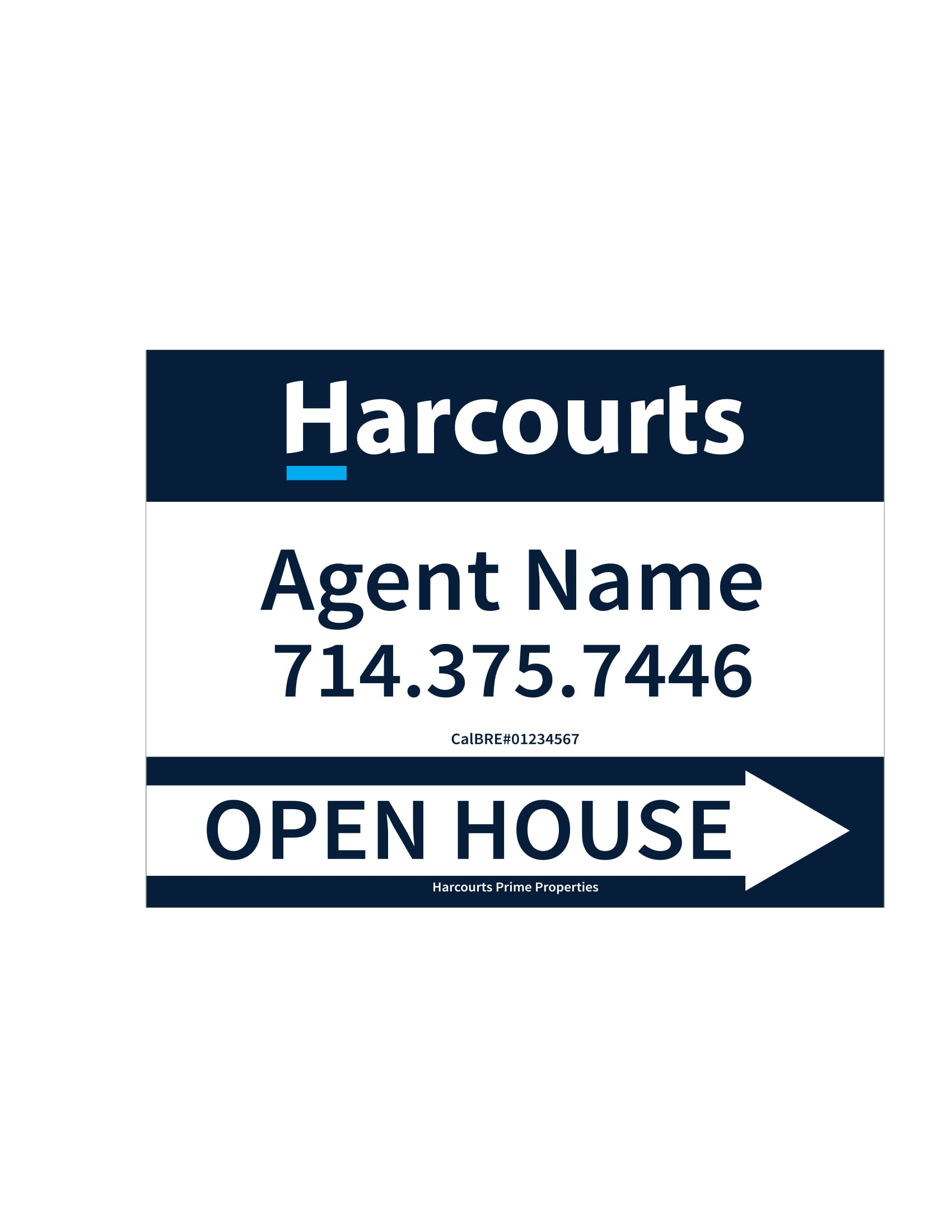 Harcourts Open House signs