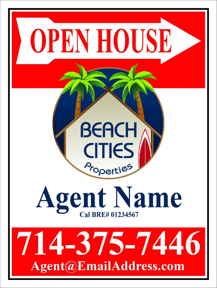 Beach Cities Properties Open House Signs