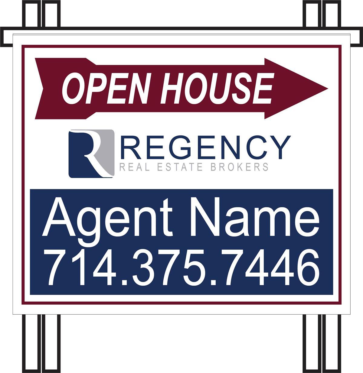 Regency Real Estate Brokers : Regency PVC Open House A-frame
